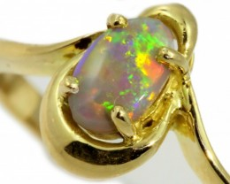 Solid Dark Opal Yellow Gold Ring SB964