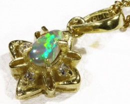 Black  Opal set in 18k  Gold Pendant  CF 1171