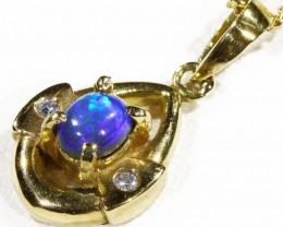 Black  Opal set in 18k  Gold Pendant  CF 1172