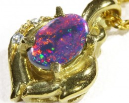 Black  Opal set in 18k  Gold Pendant  CF 1173