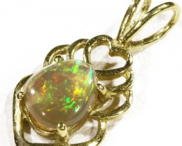 Black  Opal set in 18k  Gold Pendant  CF 1175