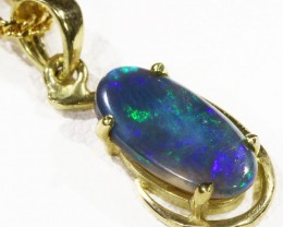 Black  Opal set in 18k  Gold Pendant  CF 1177
