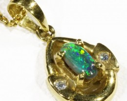 Black  Opal set in 18k  Gold Pendant  CF 1179