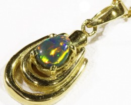 Black  Opal set in 18k  Gold Pendant  CF 1181