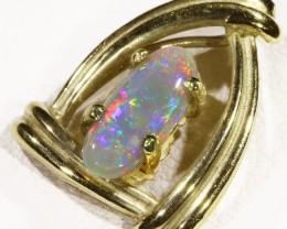 Black  Opal set in 18k  Gold Pendant  CF 1183