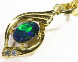 Black  Opal set in 18k  Gold Pendant  CF 1187