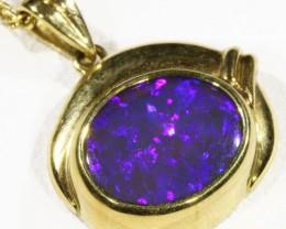 Black  Opal set in 18k  Gold Pendant  CF 1190