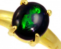 Solid Black Opal Yellow Gold Ring SB968