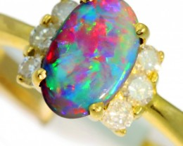 Solid Black Opal Yellow Gold Ring SB971