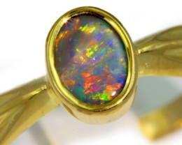 Solid Black Opal Yellow Gold Ring SB972