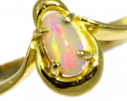 Solid Crystal Opal Yellow Gold Ring SB973