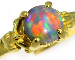 Solid Black Opal Yellow Gold Ring SB974