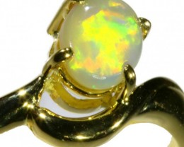 Solid Crystal Opal Yellow Gold Ring SB978