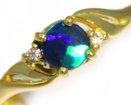 Solid Black Opal Yellow Gold Ring SB983