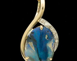 Semi-Black Solid Opal Gold & Diamond Pendant 4.06ct (LP114)