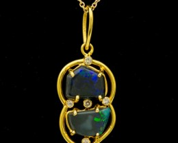 Double Black Solid Opal 14K Gold Pendant 2.08ct (LP103)