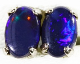 Solid Black Opal set in 18k yellow gold Earring CF1192