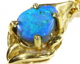 Cute Black Opal set in 18k Gold Pendant  CF 1200