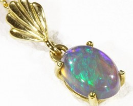 Enhanced Black Crystal Opal set in 18k Gold Pendant  CF 1201