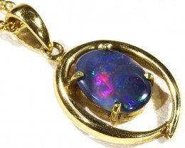 Enhanced Black Opal set in 18k Gold Pendant  CF 1205