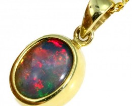 18 k Red Fire Crystal Opal Set in Yellow Gold Pendant CF1228