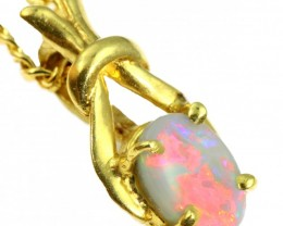 Solid Dark Opal Set in 18K Yellow Gold Pendant CF1234