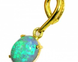 Solid Crystal Opal Set in 18K Yellow Gold Pendant CF1238