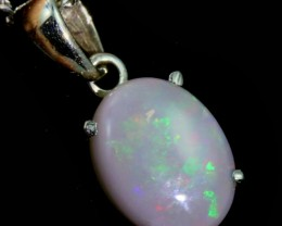 Solid Crystal Opal Set in 18K White Gold Pendant CF1239
