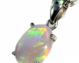 Solid Crystal Opal Set in 18K White Gold Pendant CF1241