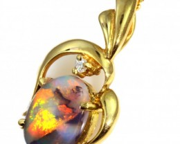 Solid Black Opal Set in 18K Yellow Gold Pendant CF1245