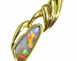 Solid Crystal Opal Set in 18K Yellow Gold Pendant CF