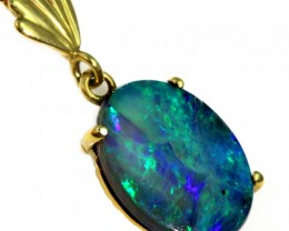 Solid Black Opal Set in 18K Yellow Gold Pendant CF1247