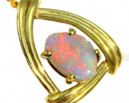 Solid Crystal Opal Set in 18K Yellow Gold Pendant CF1248