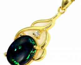 Solid Black Opal Set in 18K Yellow Gold Pendant CF1249