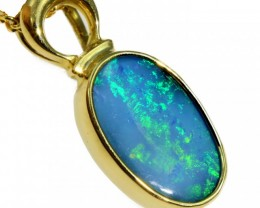 Solid Black Opal Set in 18K Yellow Gold Pendant CF1250