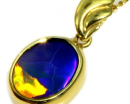 Solid Black Opal Set in 18K Yellow Gold Pendant CF1253