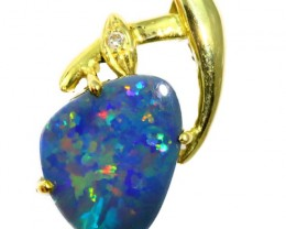 Solid Black Opal Set in 18K Yellow Gold Pendant CF1254