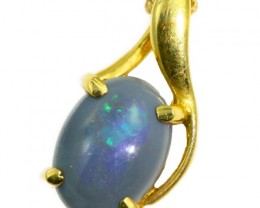Solid Black Opal Set in 18K Yellow Gold Pendant CF1256