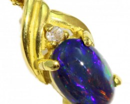 Solid Black Opal Set in 18K Yellow Gold Pendant CF1258
