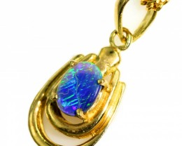 Solid Black Opal Set in 18K Yellow Gold Pendant CF1262