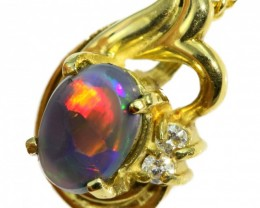 Solid Black Opal Set in 18K Yellow Gold Pendant CF1263