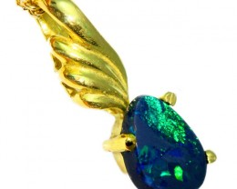 Solid Black Opal Set in 18K Yellow Gold Pendant CF1264