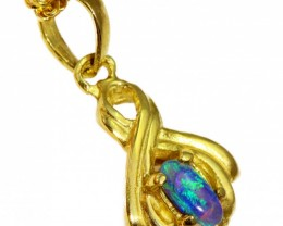 Solid Black Opal Set in 18K Yellow Gold Pendant CF1265
