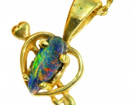 Solid Black Opal Set in 18K Yellow Gold Pendant CF1267