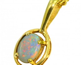 Solid Black Opal Set in 18K Yellow Gold Pendant CF1268