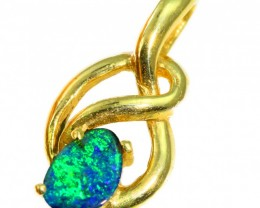 Solid Black Opal Set in 18K Yellow Gold Pendant CF1269