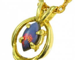 Solid Black Opal Set in 18K Yellow Gold Pendant CF1270