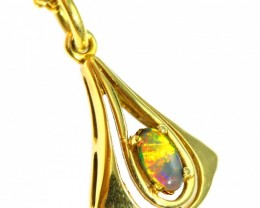 Solid Black Opal Set in 18K Yellow Gold Pendant CF1273