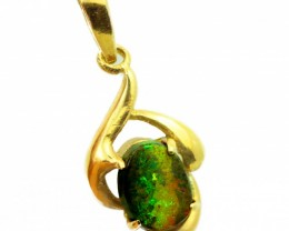 Solid Black Opal Set in 18K Yellow Gold Pendant CF1274