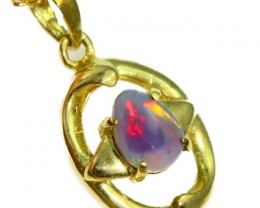 Solid Black Opal Set in 18K Yellow Gold Pendant CF1276